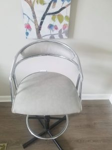 This chrome kitchen stool is from the sixties. Mid-century restoration and reupholstering are becoming trendy things to do as more people acquire these pieces from their relatives.