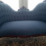after reupholstering an antique loveseat