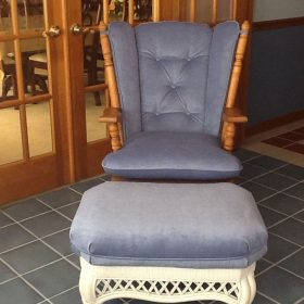 reupholstered velvet chair and ottoman