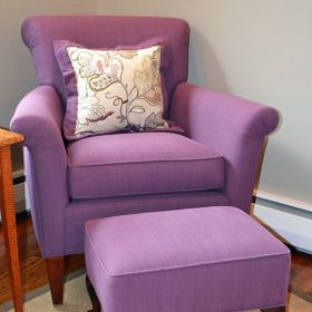 purple reupholstered chair and stool