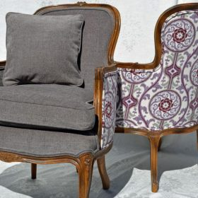 gray antique chair with patterned back reupholstered
