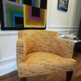 yellow printed chair reupholstered