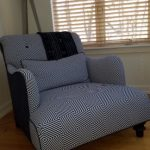 custom black and white patterned pillow and chair