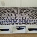 blue patterned custom bench