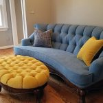 Custom upholstered sofa with custom pillows
