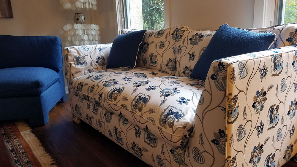 custom sofa, throw pillows, and chair