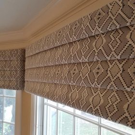 custom valance on a bow window in a dining room