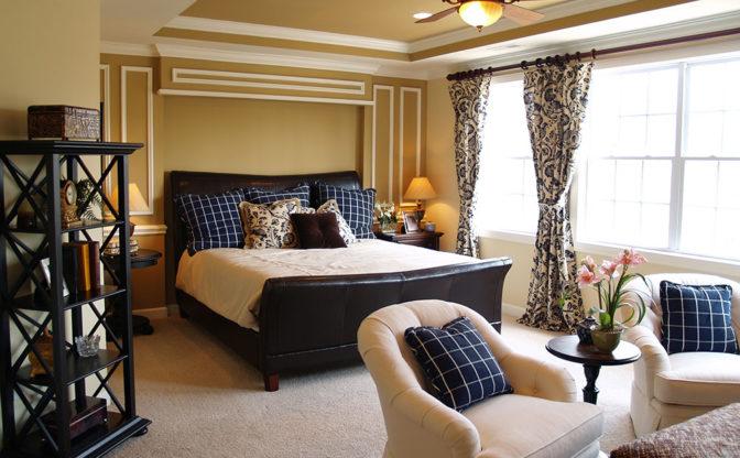 Black and Blue Master Bedroom