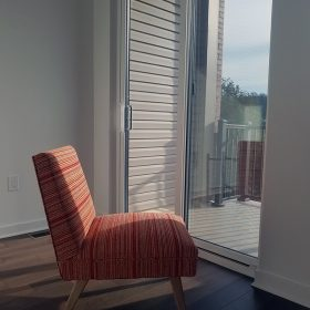 side view of reupholstered chair