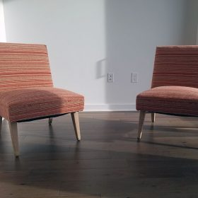 Modern chairs reupholstered in sunset orange